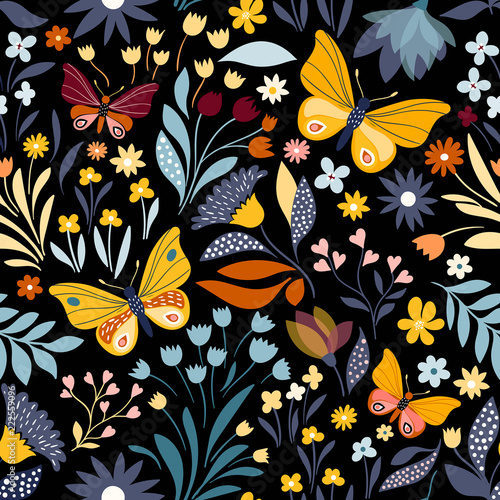 Seamless pattern with floral design and hand drawn elements - 222559096