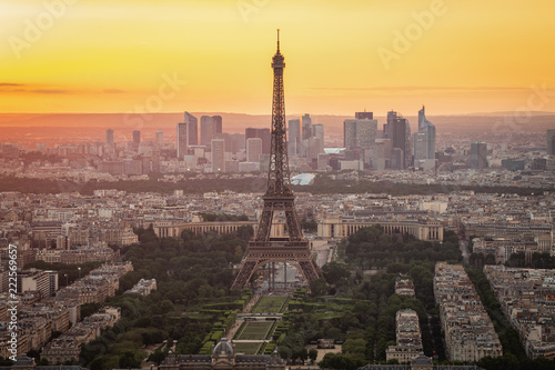 Paris skyline with Eiffel Tower at sunset in Paris city, France