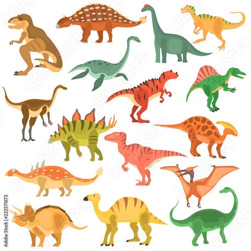 Fototapeta Ancient dinosaurus color vector icons set. Flat design