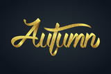 Gold glitter of autumn calligraphy hand lettering