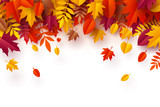 Paper art of Autumn, plie of colorful leaves - 222575291