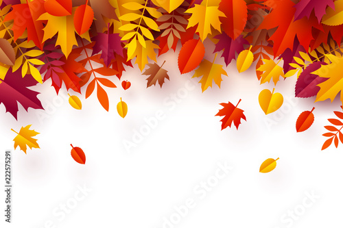 Paper art of Autumn, plie of colorful leaves