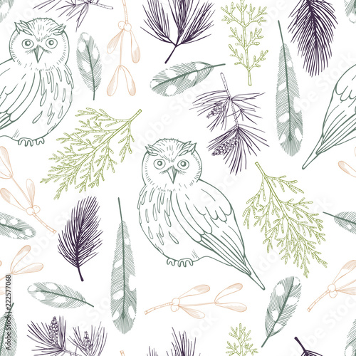 forest-owls-vector-seamless-pattern