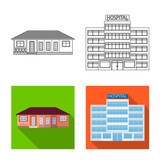 Vector design of building and front icon. Set of building and roof stock vector illustration. - 222578294
