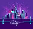 neon city fireworks - 222578816