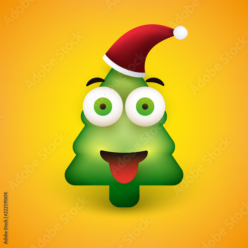 Smiling Emoji - Simple Christmas Tree Shaped Emoticon on Yellow Background - Vector Design - 222590614