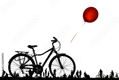 Bike lonely and red balloon flying. People on day off. Isolated on a white - 222591470