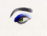 makeup. eye. beautiful woman. fashion illustration. watercolor painting - 222594404