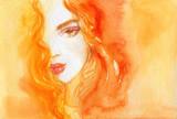 beautiful woman. fashion illustration. watercolor painting - 222594436