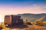 Camper car on nature. Travel