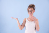 Elegant woman pretending wearing eyeglasses - 222603476