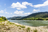 The bank of the Danube River and blue sky. Wachau valley. Austria. - 222605681