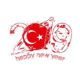 Happy New 2019 Year with flag of Turkey. Holiday grunge vector illustration. - 222606484