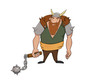 Angry and strong viking warrior standing with a knob in his right arm - 222612864
