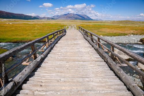 Wooden bridge in Altai Mountains Mongolia - 222618634