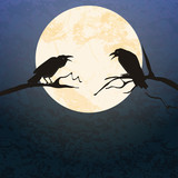 Halloween scary crow background