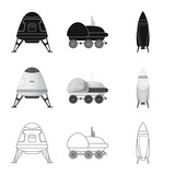 Isolated object of mars and space symbol. Set of mars and planet vector icon for stock.