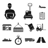 Logistics service black icons in set collection for design. Logistics and equipment vector symbol stock web illustration. - 222646267
