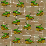 Military unit on a grid background. Seamless pattern. - 222647262