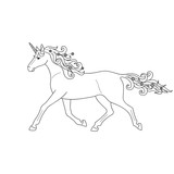 Isolated black outline running, trotting unicorn on white background. Side view. Curve lines. Page of coloring book. - 222648811