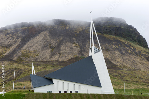Modern church in the city Olafsvik in the west of Iceland - 222658404