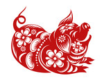 Chinese Zodiac Sign Year of Pig,Red paper cut pig,Happy Chinese New Year 2019 year of the pig - 222659444