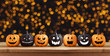 Halloween background with glitter pumpkin characters decor