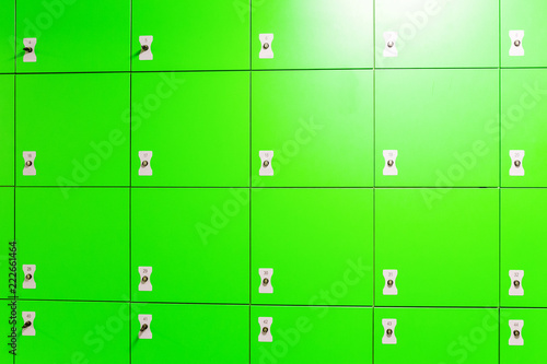 Green automated self service post terminal machine or locker to receive a parcel or to deposit the luggage for storage - 222661464