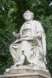 The marmor statue of the great musician Franz Schubert in the city park, Vienna, Austria (built in 1872) - 222666899
