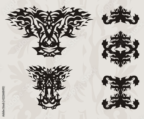 Abstract Flaming Dragon Head And Silhouettes Of Symbols Of A Dragon