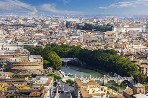 View on Castel Sant'Angelo (The Mausoleum of Hadrian), Tiber River and the Bridge in front of Rome City View - 222670824