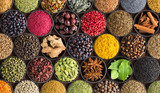 colorful spice background, top view. Seasonings and herbs for Indian food - 222672264