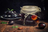 Plum compote in jar - 222674057