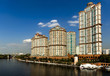 """High-rise residential complex """"Scarlet Sails"""" on the banks of the Moscow river, Moscow, Russia."""