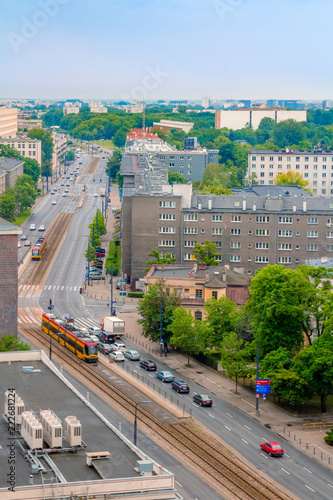 Aerial view of highway with trams and cars in the center of Warsaw in Poland © wavemovies