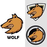 set of head wolf logo vector with shield