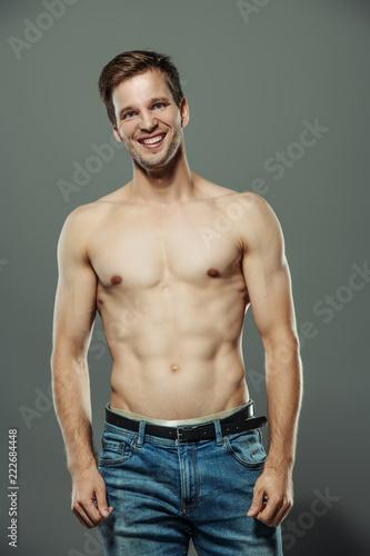 cheerful posing man