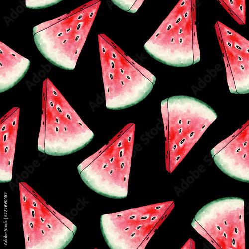 czerwony-arbuz-plastry-wzor-na-czarnym-tle-przekroj-letniej-soczystych-owocow-swieze-i-dojrzale-kawalki-slodkiej-rosliny-z-nasionami-projektowanie-tkanin-dla-mody-witaminy