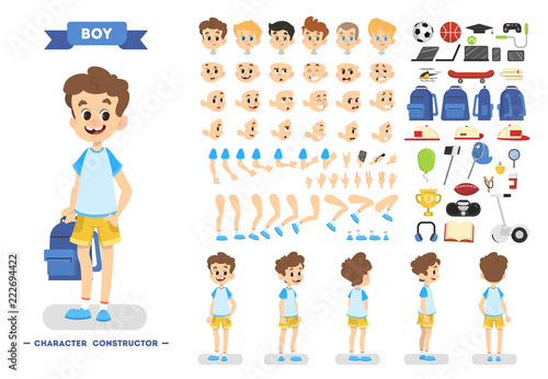 Cute young boy character set for animation - 222694422