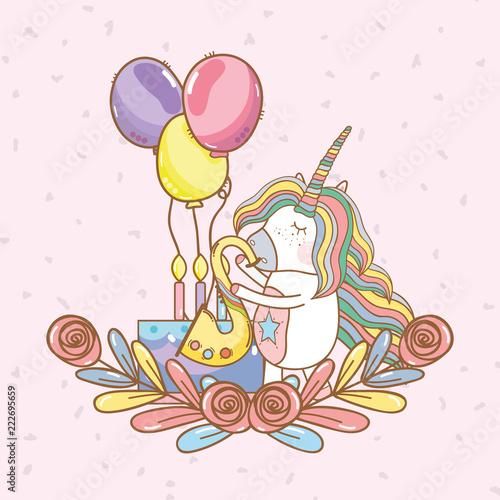 birthday, party, unicorn, party cartoons - 222695659