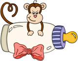 Cute monkey with baby milk bottle - 222696089