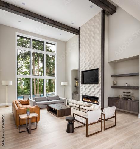 Beautiful Living Room In New Luxury Home Wall Of Windows Floor To Impressive Hardwood Floors Living Room Exterior