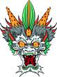 traditional hand drawn asian dragon head in color. Evil eyes, china, japan, yakuza tattoo template. vectors