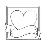 Romantic frame with heart and ribbon banner sketch - 222700613