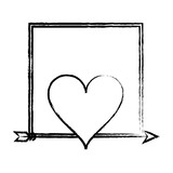 Romantic frame with heart sketch - 222700685