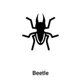 Beetle icon vector isolated on white background, logo concept of Beetle sign on transparent background, black filled symbol