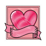 Romantic frame with heart and ribbon banner scribble - 222706212