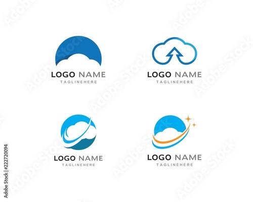 Fototapeta cloud technology vector logo template