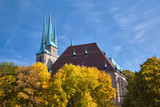 Close-up on the towers of Erfurt Cathedral ion a bright day n Autumn - 222728423