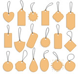 tag label set, blank vintage paper tags - 222730452